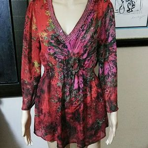 V Neckline, Beaded Holiday Tunic.